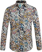 SSLR Men's Paisley Cotton Printed Long Sleeve Casual Button Down Shirt