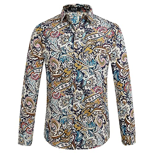 Mens Paisley Print Long Sleeve Shirt