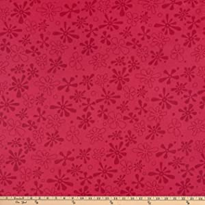 Westrade Textiles Westrade 110'' Flannel Wide Quilt Backs Flower Power Magenta Fabric