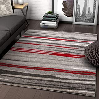 Well Woven Rocoso Stripes Red Geometric Modern Abstract Lines Accent Area Rug 4x5 (3'11