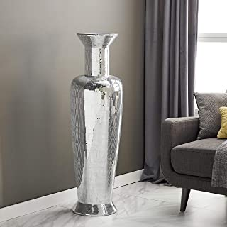 Mosaic Polystone and Fiberglass 50-inches High X 14-inches Wide Striated Tapered Urn Floor Vase Silver Glass Resin