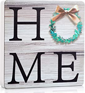 Home Wooden Sign Rustic Decorative Wood Block Tabletop Decorations Wood Block Plaque for Home Wall Table Decor, 4 x 4 Inch
