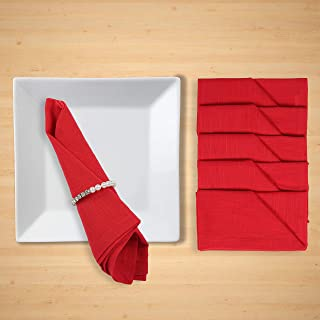 FINGERCRAFT Dinner Cotton Slub Cloth Napkins, 100% Cotton Set of 12, 18X18 Inch,for Events, Weddings, Festive, Hotel, Ever...