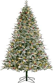 LordofXMAS Flocked Christmas Tree Pre-lit 7.5 ft Easy Plug Warm White LED Lights