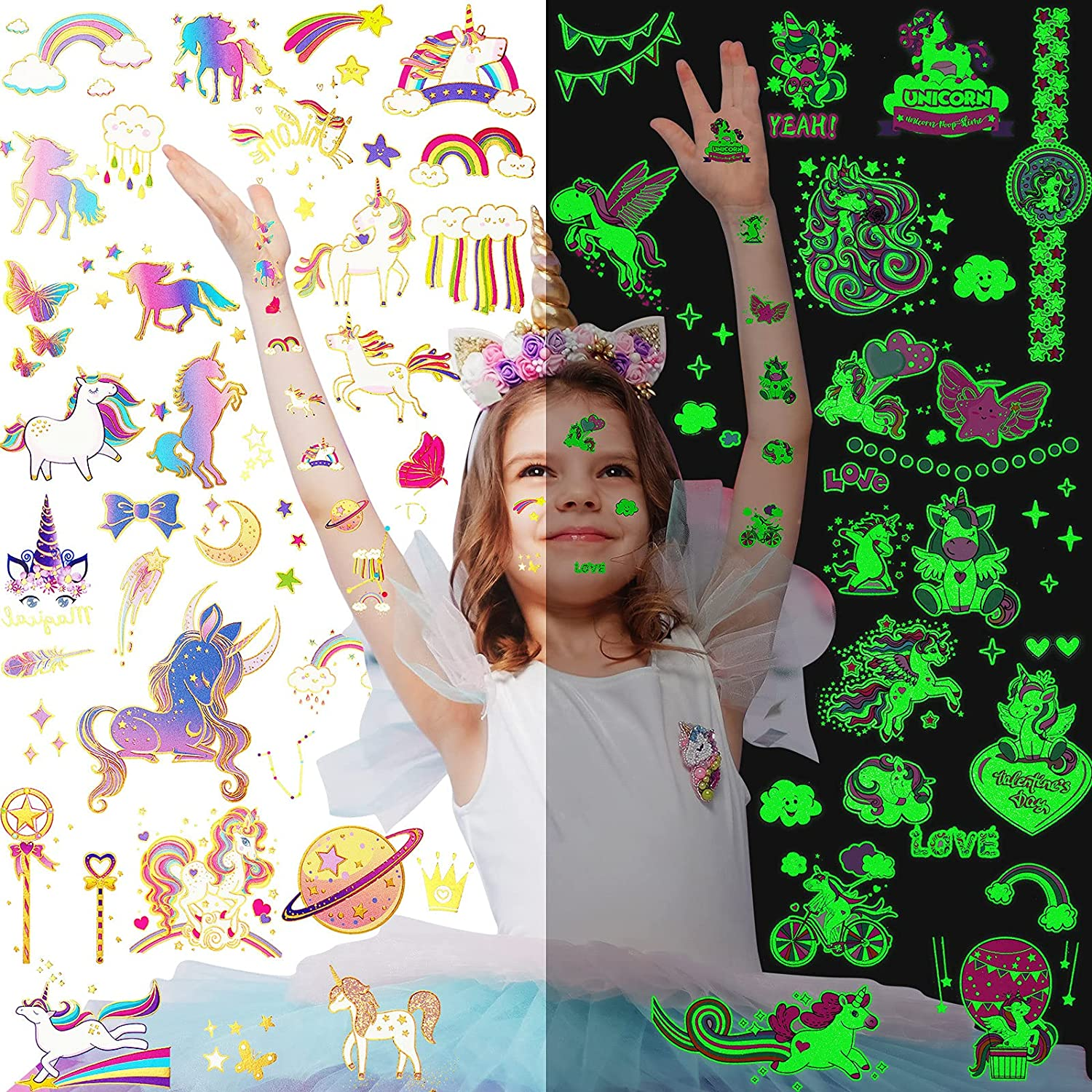 80 Pieces Unicorn Temporary Tattoos for Un 55% OFF the in Industry No. 1 Kids Glow Dark