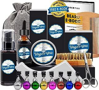 Upgraded Beard Grooming Care Kit w/Beard Shampoo Wash,Beard Growth Oil Conditioner,Beard Balm,Beard Shaper,Beard Brush,Beard Comb,Beard Scissors Gag Stocking Stuffers Christmas Gifts Set for Men Dad