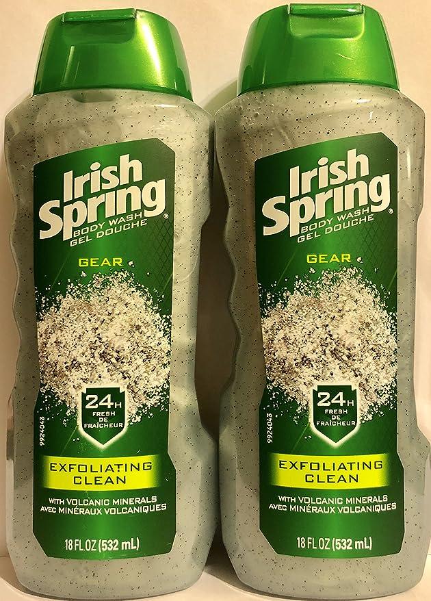 野球旋律的世界的にIrish Spring ギアボディウォッシュ - エクスフォリエイティングクリーン - 火山ミネラルを - ネット重量。ボトルパー18液量オンス(532 ml)を - 2本のボトルのパック