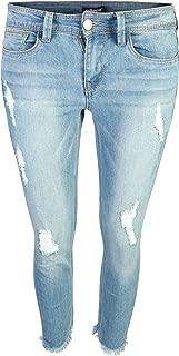 dollhouse Women's Distressed Stretch Frayed Hem Skinny Capri Jeans