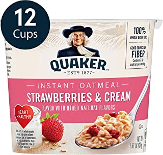 Quaker Instant Oatmeal Express Cups, Strawberries & Cream, 12 Count