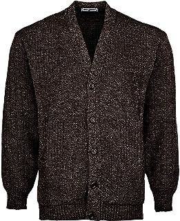 Miss Trendy Mens Classic Buttons Vintage Plain Knitted Grandad Cardigan Jumper UK S- 3XL (4XL, DARKB - BRIGHTW- Button)