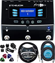 TC Helicon Play Acoustic Vocal Effects Stompbox Bundle with 12V 400mA DC Power Supply, Blucoil 2-Pack of 20-FT Balanced XLR Cables, 10-FT Mono Instrument Cable, and 4-Pack of Celluloid Guitar Picks