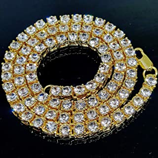 "Iced Out 14K Hip Hop 20"" Tennis Chain Gold Plate 5mm Choker Bling Bling Punk Necklace"