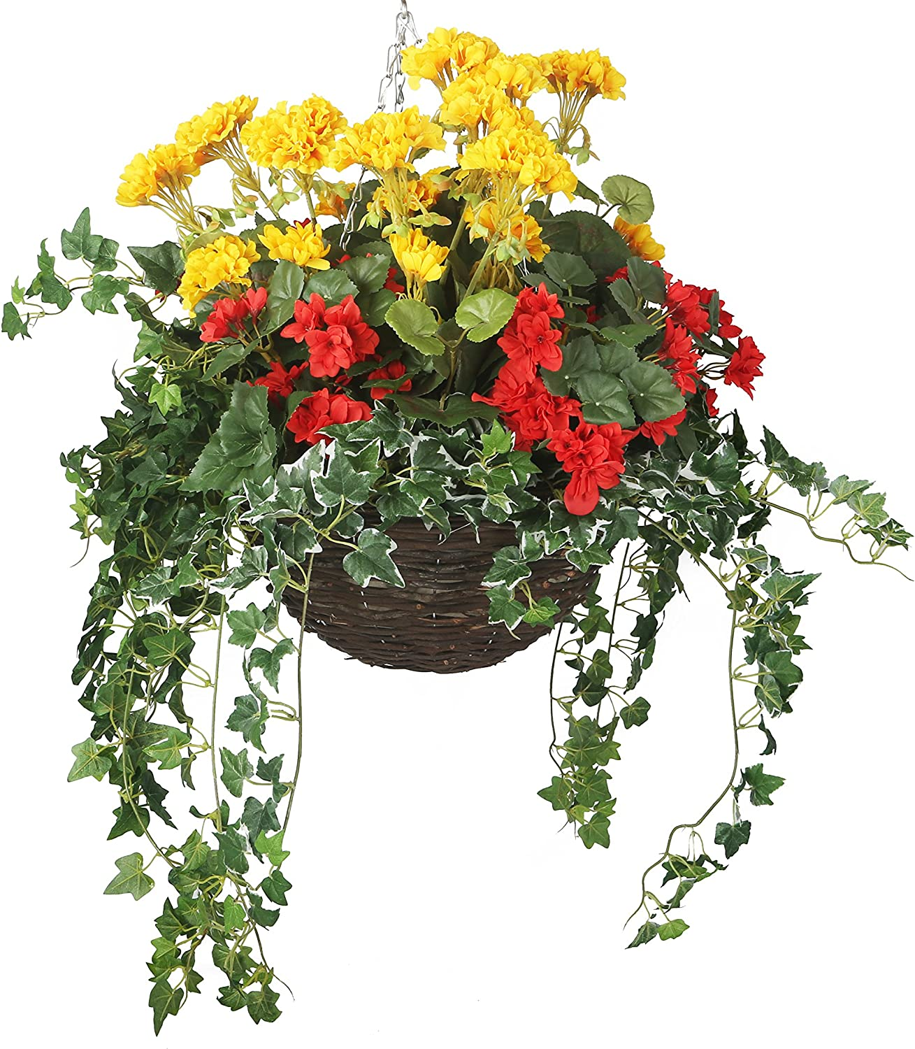 Closer2Nature Artificial Red Begonia and Yellow Limited Sales results No. 1 price Display Geranium