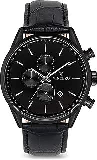 Vincero Luxury Men's Chrono S Wrist Watch - Top Grain Italian Leather Watch Band - 43mm Chronograph Watch - Japanese Quartz Movement…