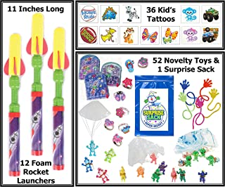 Rockets & More 100 Pc Kid's Party Favor Prize Pack (Toy Assortment Includes: 12 Foam Rocket Launchers, 12 Sticky Hands, 12 Girl's Glitter Rings, 16 Parachutists, 36 Tattoos & More...)
