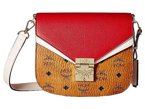 MCM Patricia Visetos Leather Block Shoulder Small