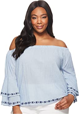 Plus Size Embroidered Off the Shoulder Top