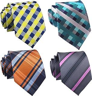 Sponsored Ad - Elfeves Lot 4 PCS Classic Men's Tie Silk Neckties Jacquard Formal Party Neck Ties Set