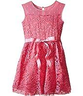 Us Angels - Lace Dress w/ Drop Shoulder Illusion Neckline w/ Belt & Full Skirt (Big Kids)
