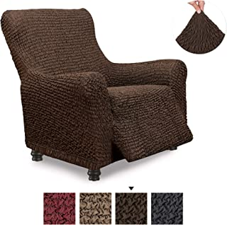 Recliner Cover - Recliner Chair Cover - Recliner Slipcover - Cotton Fabric Slipcover - 1-piece Form Fit Stretch Stylish Furniture Protector - Mille Righe Collection - Brown (Recliner)