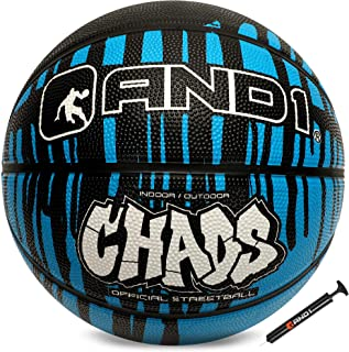 "AND1 Rubber Basketball & Pump Bundle (Drip Collection)- Official Size 7 (29.5"") Streetball, Made for Indoor and Outdoor Basketball Games"