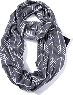 Infinity Loop Jersey Scarf with Hidden Zipper Pocket Printed Patterns for Women - Travel Wrap
