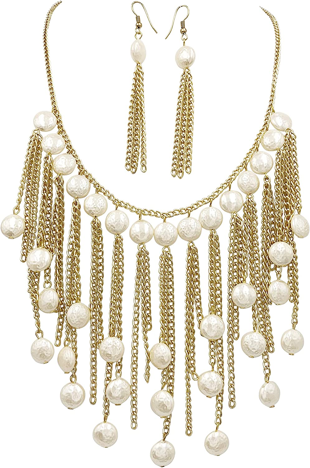 Gypsy Jewels Cascading Imiation Pearl Beaded Fringe Dramatic Unique Boutique Style Gold Tone Chain Necklace