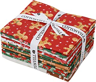 COTTONVILL EMANON Happy Christmas Precut Fat Quarter Bundle 13pcs Cotton Quilting Fabric