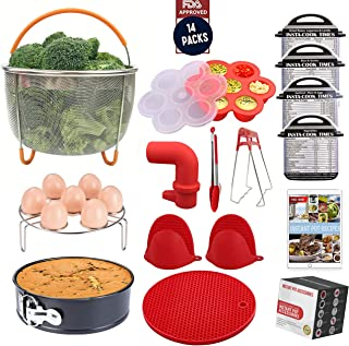 SISS 14-Pcs Instant Pot Accessories Set Compatible with 5,6,8 Qt | Complete Pressure Cooker Accessory Kit, Steamer Basket, Spring Form Pan, Silicone Mat, Mitts, Tongs, Egg Rack,4pcs Cheat Sheet Magnet