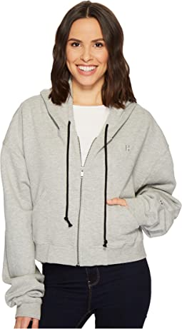 Hudson - Oversized Zip Crop Hoodie in Heather Grey