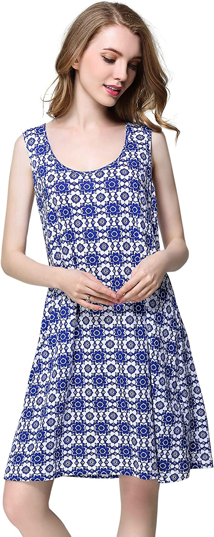 Sunshine Chow Women's Cotton Nightgown Sleeveless Sleepwear Summer Tank T-Shirt Nightshirt Printing Dress