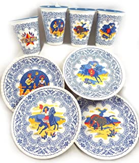 Texas Western Cowboy Retro Melamine Snack Plates and Cups New So Cute