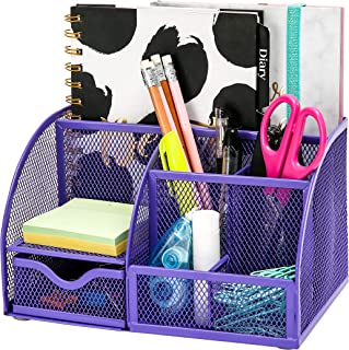 Exerz Mesh Desk Organizer Office with 6 Compartments + Drawer/Desk Tidy Candy/Pen Holder/Multifunctional Organizer Purple Color (EX348-PPL)