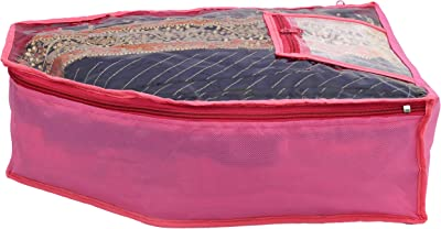 Kuber Industries 2 Piece Non Woven Blouse Cover with Front Transparent Window with Attached Pocket Set (Pink) - CTKTC045245