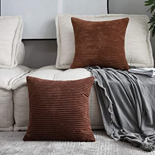 Home Brilliant Throw Pillow Covers Decor Striped Corduroy Velvet Cushion Cover for Baby Supersoft Handmade Decorative Pillowcase, Brown, 20x20 Inches(50cm)