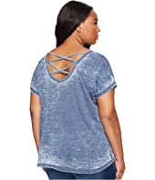Allen Allen - Plus Size Double Cross Back Tee