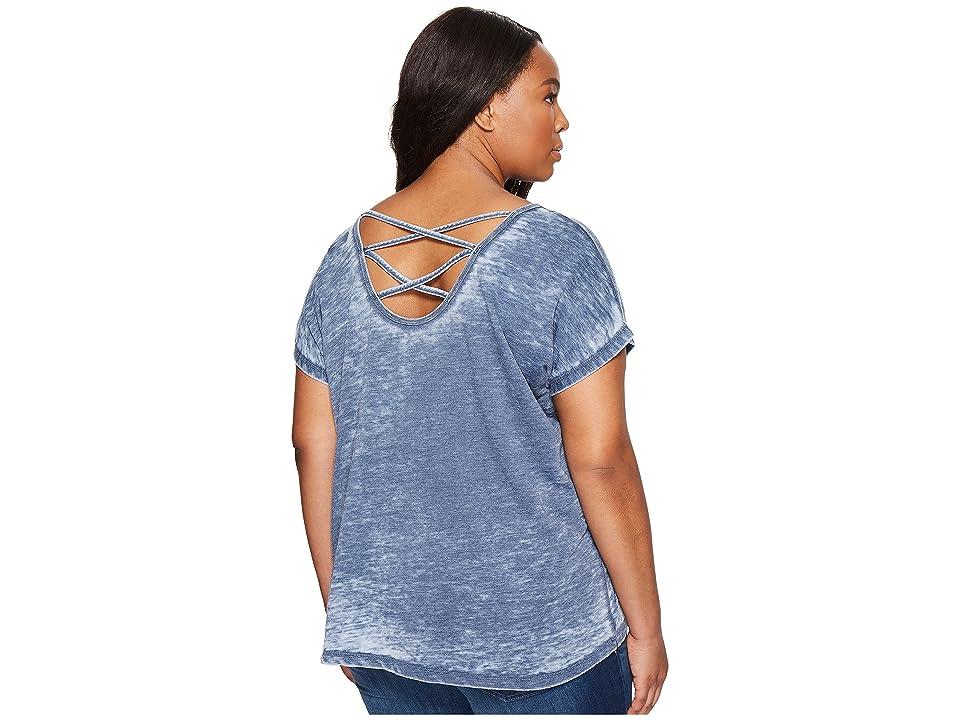 Allen Allen Plus Size Double Cross Back Tee (Lapis) Women's T Shirt