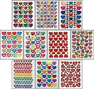 Jazzstick 10-Sheet Valentines Heart Stickers Glitter Red & Colors Value Pack Bulk 05