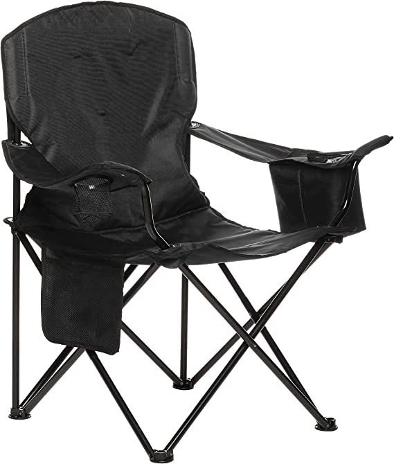 Amazon Basics Extra Large Padded Folding Outdoor Camping Chair with Bag - 38 x 24 x 36 Inches, Black