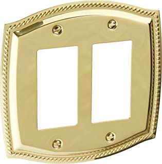 Baldwin 4797030 Double GFCI Rope Switch Plate, Bright Brass
