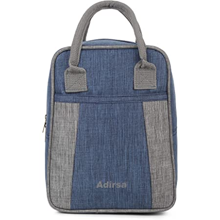 ADIRSA LB3016 Navy Blue Canvas Insulated Lunch Bag for Office Women Men School Eco Friendly Reusable & Washable