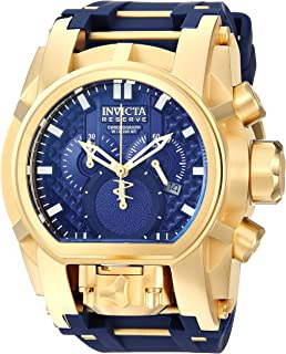 Invicta Men's Reserve Stainless Steel Quartz Watch with Silicone Strap, Blue, 34 (Model: 25608)
