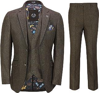 Mens Brown Tweed Herringbone 3 Piece Suit Black Suede Trim Smart Tailored Fit