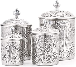 Old Dutch 501SS 4 Piece Art Nouveau Canister set, One Size, Stainless Steel, Antique Pewter