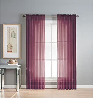 Window Elements Diamond Sheer Voile Extra Wide 56 x 95 in. Rod Pocket Curtain Panel, Plum