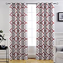 DriftAway Alexander Thermal Blackout Grommet Unlined Window Curtains Spiral Geo Trellis Pattern Set of 2 Panels Each Size 52 Inch by 84 Inch Red and Gray