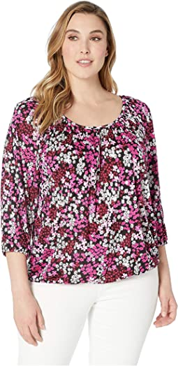 Plus Size Mod Garden Peasant Top
