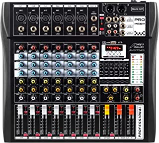 Audio2000'S AMX7343 Eight-Channel Audio Mixer with USB Interface and Sound Effect