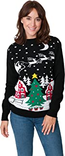 New Camp Ltd Christmas Xmas 2018 Mens Jumper Novelty Fairisle Santa Party Sweater Jumper Womens Unisex Santa Night Sky Exc...
