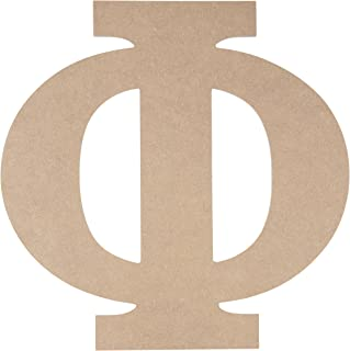 Wooden Greek Letter - Unfinished Wood Letter Phi, Paintable Greek Font for DIY, Home, College, Sorority, Fraternity Decoration, 11.56 x 11.625 x 0.25 inches